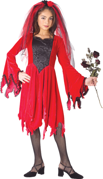 Velvety Devil Bride: Child Costume - Click Image to Close