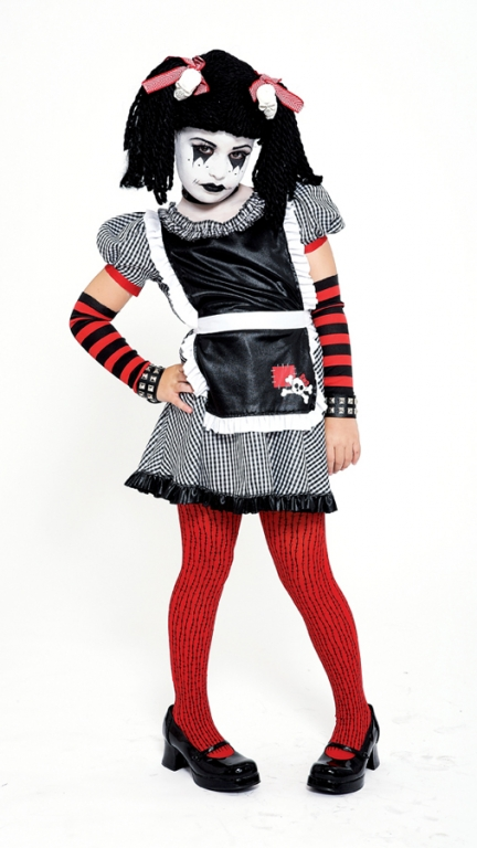 Gothic Rag Doll Child Costume Large