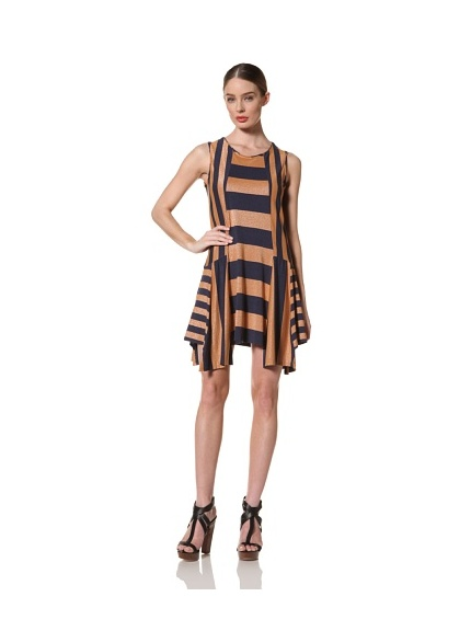 Anna Sui Women's Mixed Jersey Stripe Dress (Electric Blue/Nude)