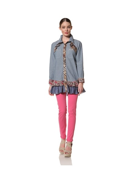 Anna Sui Women's Chambray Tunic with Ruffle Trim (Light Indigo)