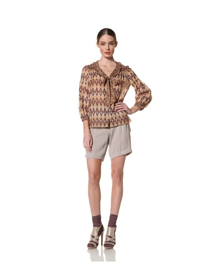 Anna Sui Women's Garden Stripe Mixed Prints Blouse (Caramel Multi)