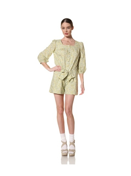 Anna Sui Women's Calico Sprigs on Lawn Romper (Marigold Multi)