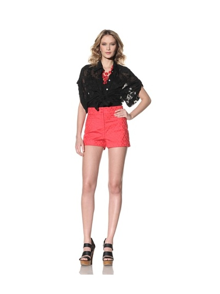 Anna Sui Women's Cotton Jacquard Shorts (Tomato)