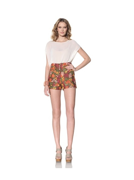 Anna Sui Women's Mod Floral Printed Shorts (Persimmon)