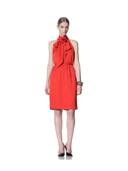 Bill Blass Women's Knee-Length Dress with Scarf Collar (Red)