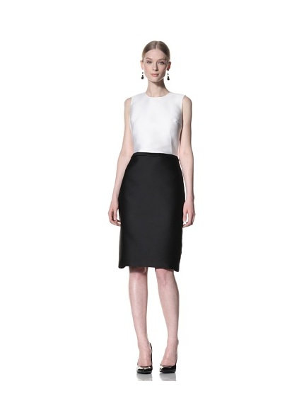 Bill Blass Women's Knee-Length Sleeveless Dress (White/Black)