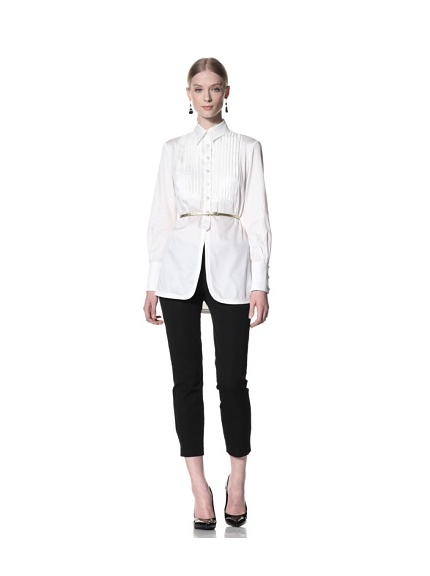 Bill Blass Women's Button-Front Shirt with Contrast Bib (White)