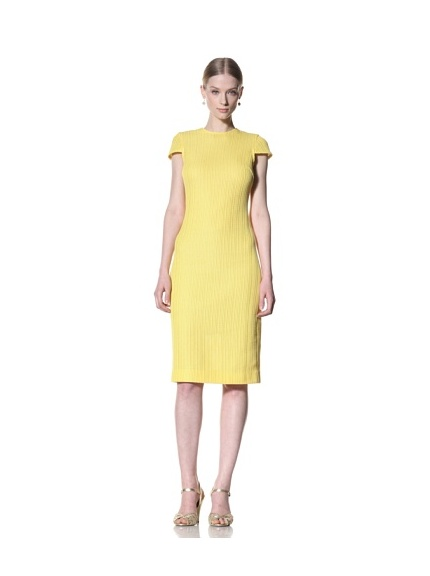 Bill Blass Women's Knee-Length Dress with Open Back (Yellow)