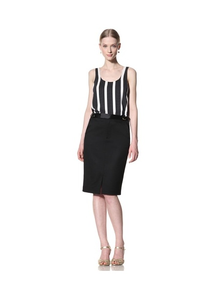 Bill Blass Women's Tuxedo Pencil Skirt (Black)