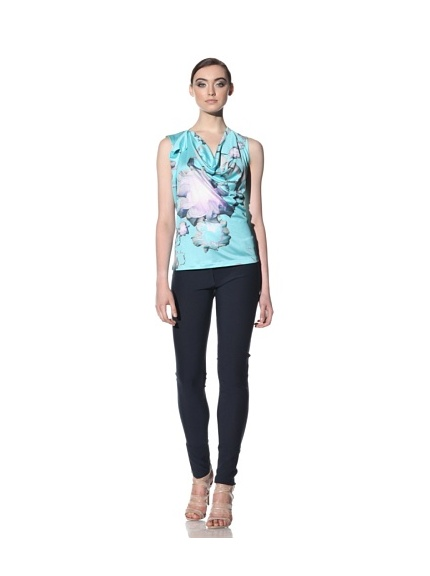 Boudicca Women's Cubic Cowl Floral Print Top (Turquoise)