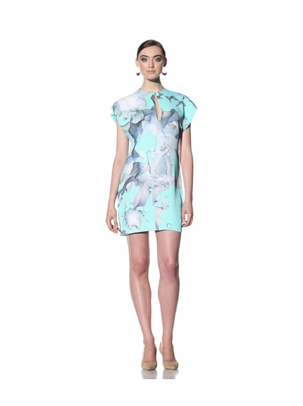 Boudicca Women's Floral Print Split Dress (Turquoise)