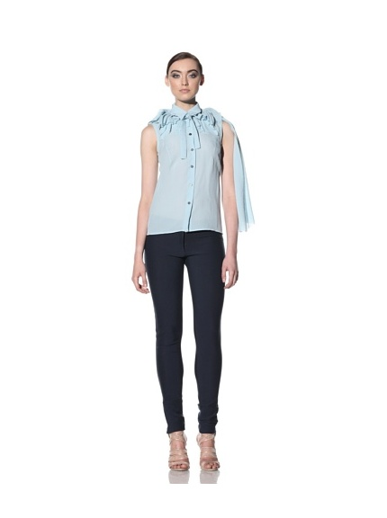 Boudicca Women's Ruffle Neck Blouse (Blue)