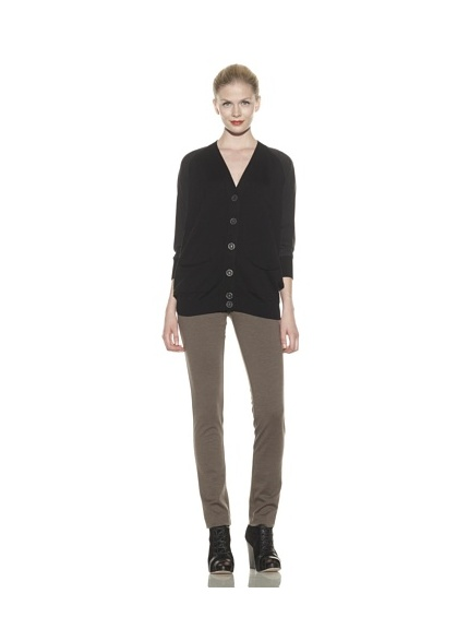 Catherine Malandrino Women's Cardigan with Silk Contrast (Noir)