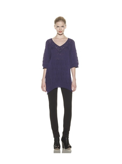 Catherine Malandrino Women's Mixed Pointelle V-Neck Tunic (Noirb