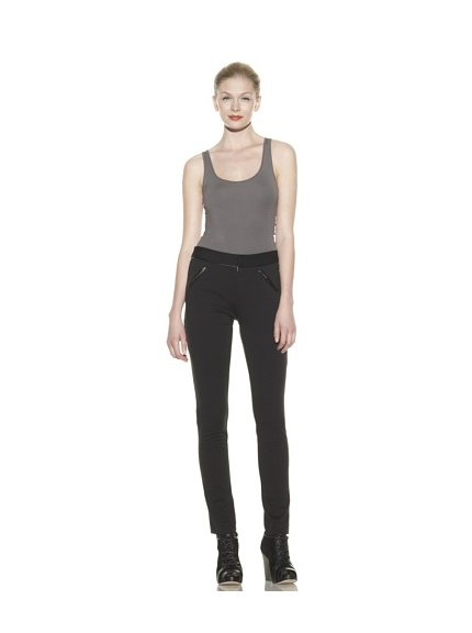 Catherine Malandrino Women's Skinny Pant with Leather Zip Detail