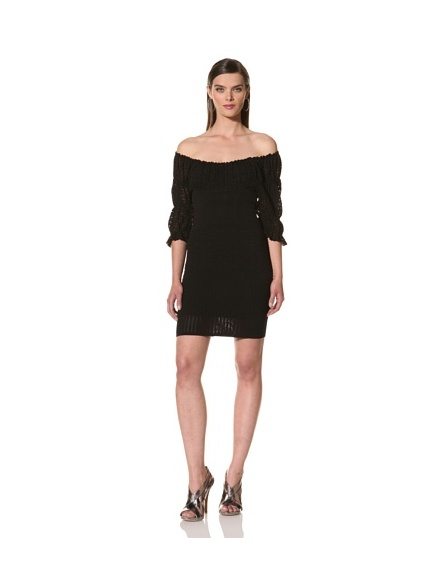 Catherine Malandrino Women's Mixed Pointelle Dress (Noir)