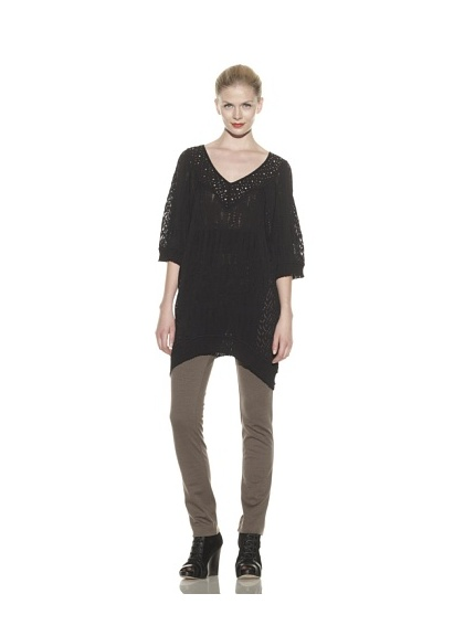 Catherine Malandrino Women's Mixed Pointelle V-Neck Tunic (Noir)