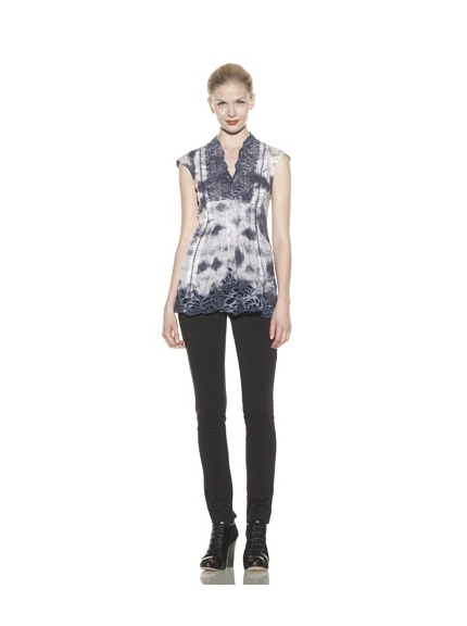 Catherine Malandrino Women's Cutout Tunic (Cloud Marble)