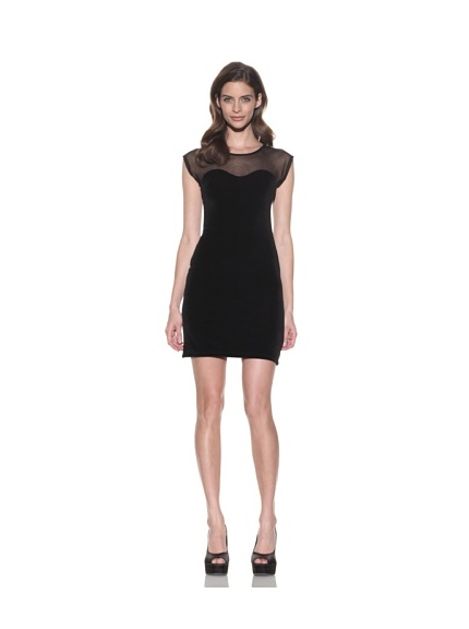 David Lerner Women's Velvet Mesh Trim Dress (Black)