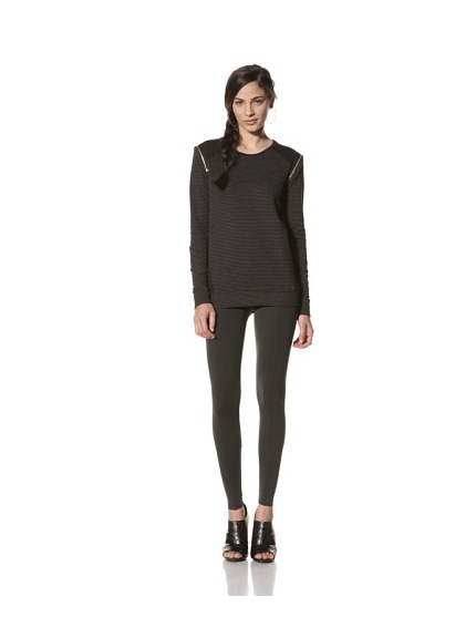 David Lerner Women's Shoulder Zip Long Sleeve Top (Black/Grey)
