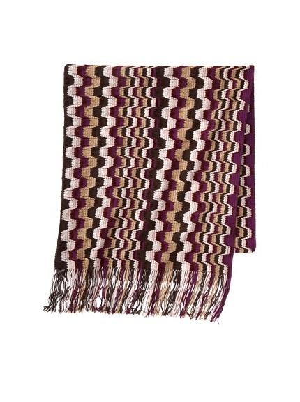 Missoni Women's Blocked Stripe Scarf, Purple/Brown