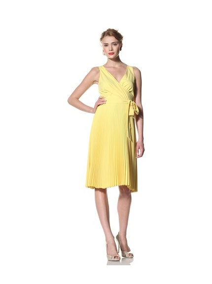 Eva Franco Women's Amanda Surplice Dress with Pleated Skirt (Lemon Drop)