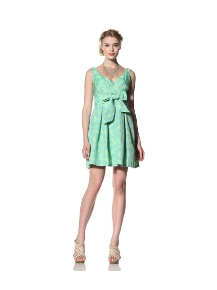 Eva Franco Women's Alexa V-Neck Fit & Flare Dress with Tie Belt (Citrus Orchid)
