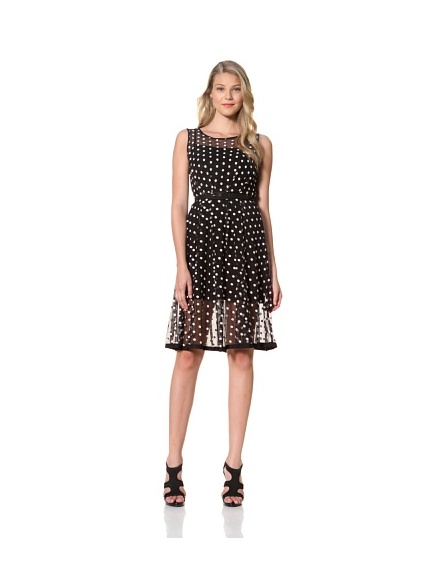 Eva Franco Women's Samantha Sleeveless Polka Dot Printed Dress (Coco Dot)
