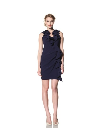 Eva Franco Women's Cecile Sleeveless Dress with Side Ruffle (Navy)