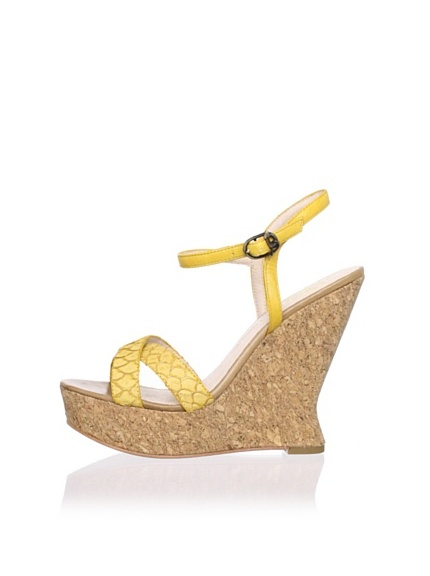 House of Harlow 1960 Women's Pat Wedge Sandal (Yellow/Mellow Yellow)