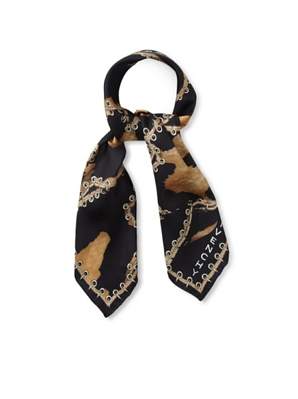 Givenchy Women's Leopard Laced Square Scarf (Black)