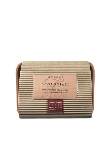 I Coloniali Set of Two Aromatic Illipe Butter Soaps and Soap Dish, 5.3 oz. each