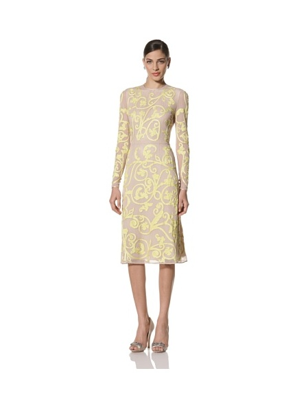 Jonathan Saunders Women's Ariel Long Sleeve A-Line Dress (Stone/Lemon)