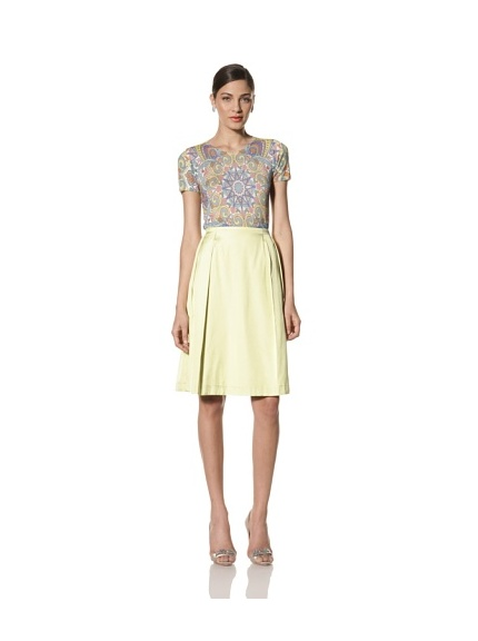 Jonathan Saunders Women's Harmont Stitched Polka Dot Pleat Skirt (Steel/Sherbet)