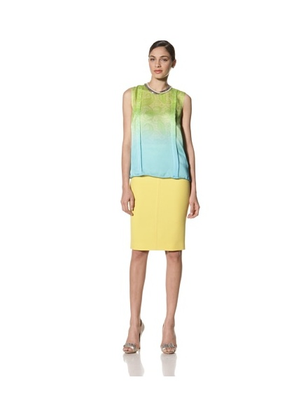 Jonathan Saunders Women's Creighton Paisley Print Sleeveless Pleat Blouse (Lemon/Light)