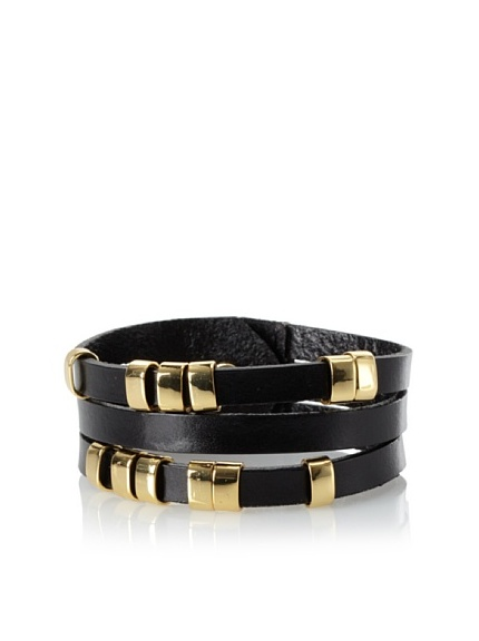 Linea Pelle Sliced Cuff with Sliders, Black