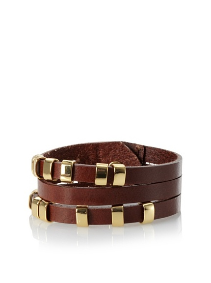 Linea Pelle Sliced Cuff with Sliders, Cognac