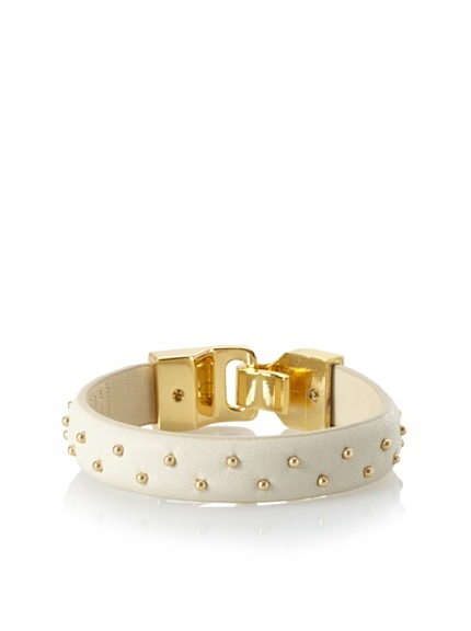 Linea Pelle Welted Nailhead Leather Bangle, Sand
