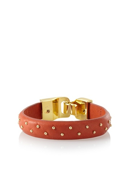 Linea Pelle Welted Nailhead Leather Bangle, Pumpkin