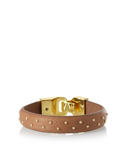 Linea Pelle Welted Nailhead Leather Bangle, Coffee