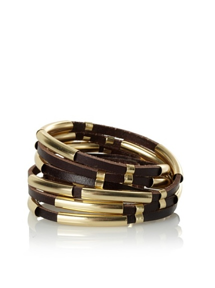 Linea Pelle Tribal Sliced Double Wrap Bracelet, Dark Chocolate