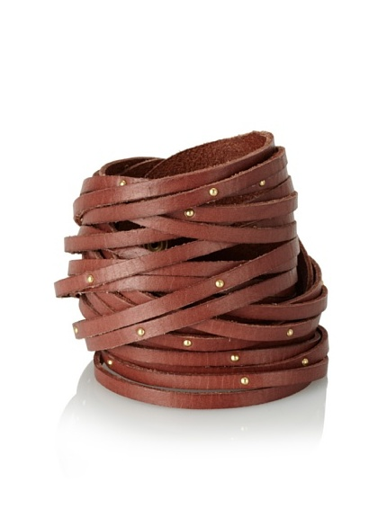 Linea Pelle Double Wrap Sliced Cuff with Studs, Cognac