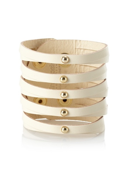Linea Pelle Sliced Cuff with Dome Studs, Vanilla