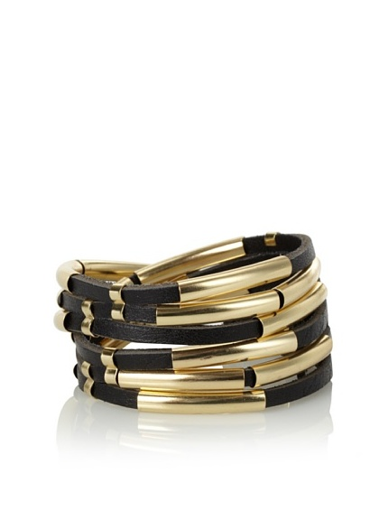 Linea Pelle Tribal Sliced Double Wrap Bracelet, Black