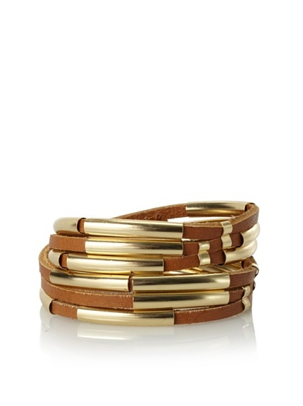 Linea Pelle Tribal Sliced Double Wrap Bracelet, Natural