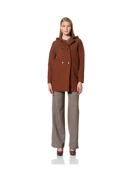 MARTIN GRANT Women's Hooded Duffle Coat (Chestnut)