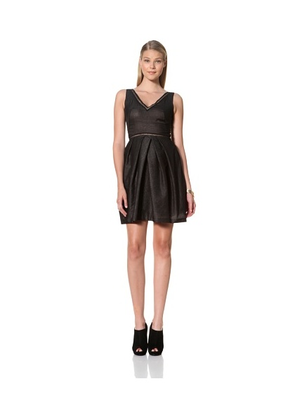 MARTIN GRANT Women's V-Neck Dress with Pleats and Cutouts (Black)