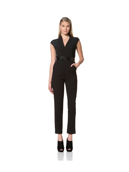 MARTIN GRANT Women's Belted Slim Fit Jumpsuit (Black)