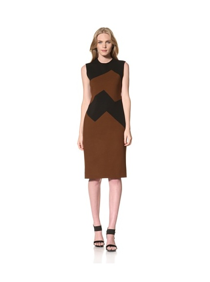 MARTIN GRANT Women's Jersey Two-Tone Dress (Black/Cognac)