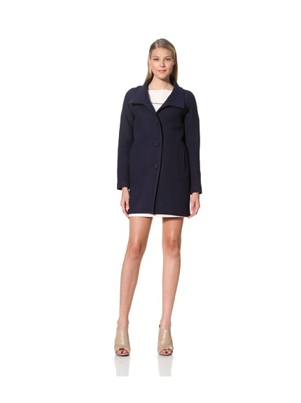 MARTIN GRANT Women's Scarf Collar Coat (Navy)